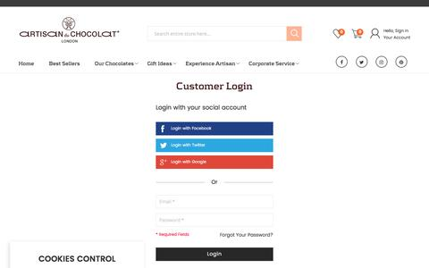 Screenshot of Login Page artisanduchocolat.com - Customer Login - captured May 30, 2017