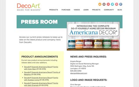 Screenshot of Press Page decoart.com - DecoArt - Press Releases - captured June 4, 2017