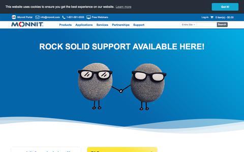 Screenshot of Support Page monnit.com - Support - captured Nov. 13, 2019