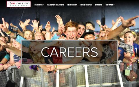 Screenshot of Jobs Page livenationentertainment.com - Careers : Live Nation Entertainment - captured Oct. 30, 2014
