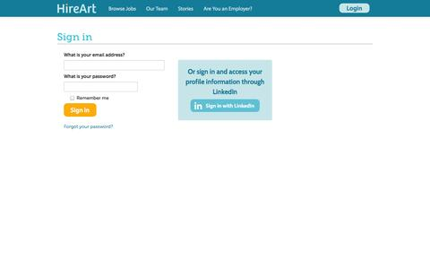 Screenshot of Login Page hireart.com - HireArt: Source and screen job applicants through video interviews and work samples. - captured Sept. 16, 2014