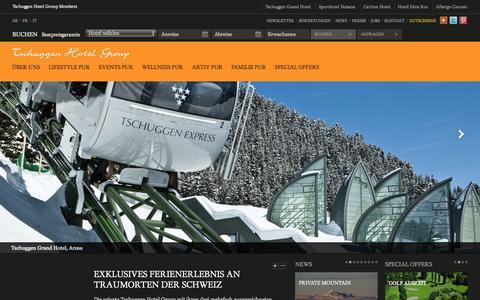 Screenshot of Home Page tschuggenhotelgroup.ch - Homepage - Tschuggen Hotel Group - captured Sept. 30, 2014
