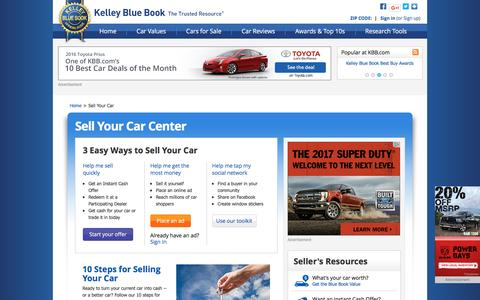 Screenshot of kbb.com - How To Sell A Car - Sell Your Car - Kelley Blue Book - captured Oct. 20, 2016