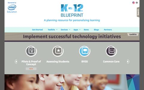 Screenshot of Home Page k12blueprint.com - Technology in Education | K-12 Blueprint - captured Sept. 30, 2014
