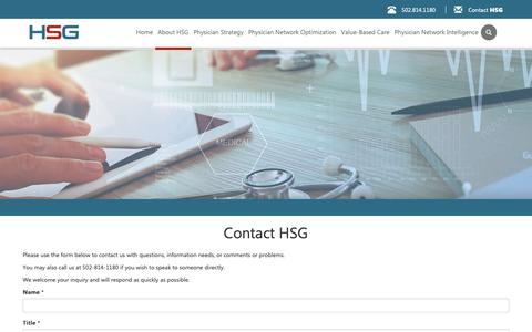 Screenshot of Signup Page hsgadvisors.com - Contact HSG – HSG - captured Nov. 2, 2018