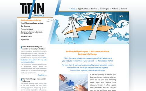 Screenshot of Home Page titan-commerce.com - Building Bridges into Europe - captured Oct. 7, 2014