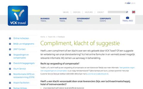 Screenshot of Support Page vcktravel.nl - Feedback (Complimenten, klachten of suggesties) |  VCK Travel - captured Feb. 28, 2016