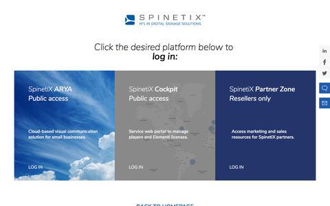Screenshot of Login Page spinetix.com - Login | SpinetiX - captured Nov. 5, 2019