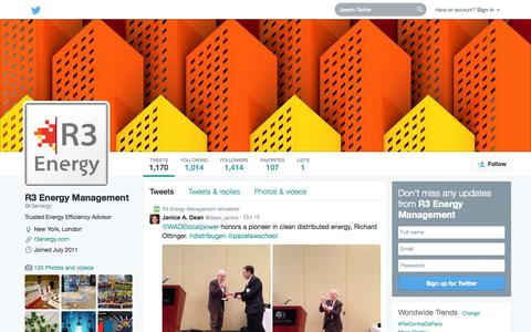 Screenshot of Twitter Page twitter.com - R3 Energy Management (@r3energy) | Twitter - captured Oct. 22, 2014