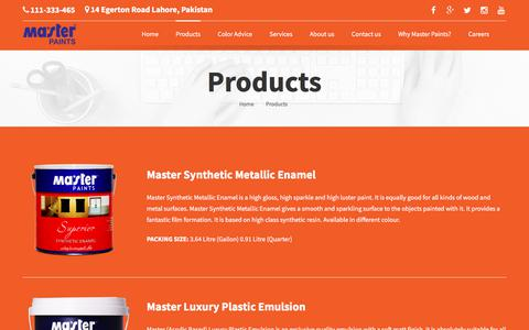 Screenshot of Products Page masterpaints.com - Products - Master PaintsMaster Paints - Best Paint In Pakistan - captured Oct. 17, 2017