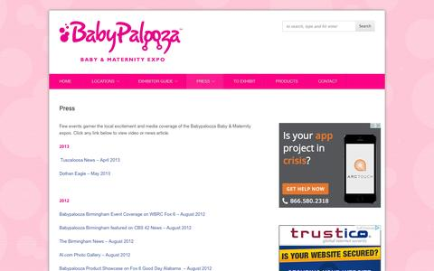 Screenshot of Press Page babypaloozatour.com - Babypalooza Baby and Maternity Expo >> Baby & Maternity Expo » Press - captured Oct. 5, 2014