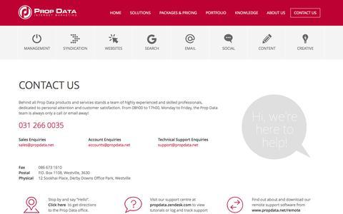 Screenshot of Contact Page propdata.net - Contact Us | Prop Data Internet Marketing - captured Dec. 13, 2015