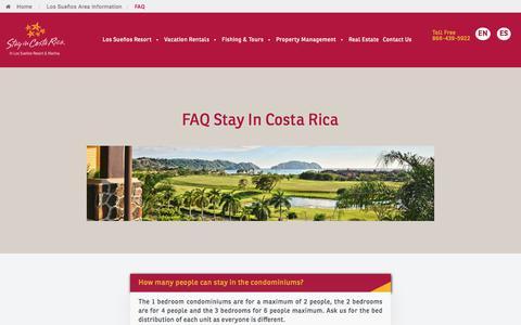Screenshot of FAQ Page stayincostarica.com - FAQ's   Los Suenos Rentals   Stay In Costa Rica - captured Sept. 21, 2018