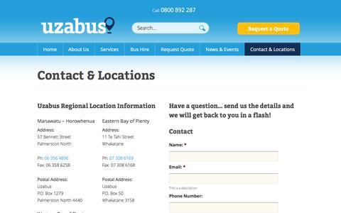 Screenshot of Locations Page uzabus.co.nz - Contact & Locations | Uzabus - captured June 16, 2016
