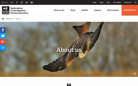 Screenshot of About Page wildlifebcn.org - About us | Wildlife Trust for Beds, Cambs & Northants - captured May 30, 2019