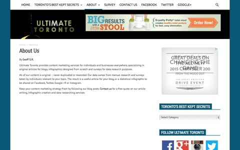 Screenshot of About Page ultimatetoronto.com - About Us - Ultimate Toronto - captured Sept. 30, 2014