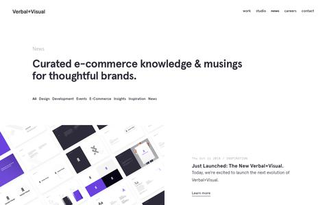 Screenshot of Press Page verbalplusvisual.com - Verbal+Visual— Curated e-commerce knowledge & musings for thoughtful brands. - captured Oct. 19, 2018