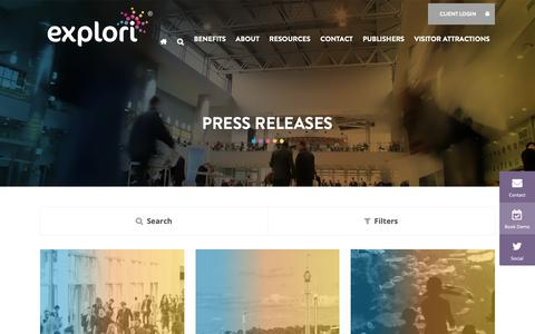 Screenshot of Press Page explori.com - Press Releases - Explori - Powering customer experience for your live event or visitor attraction - captured Nov. 5, 2018