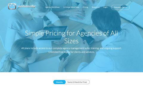 Screenshot of Pricing Page workamajig.com - (2) New Messages! - captured May 28, 2019