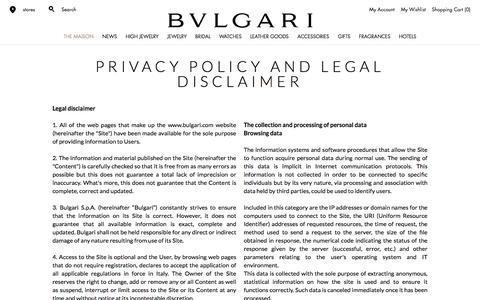 Screenshot of Privacy Page bulgari.com - Bulgari | Privacy Policy           | Bulgari - captured June 3, 2017