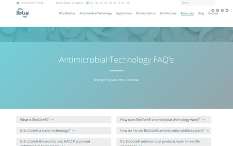 Screenshot of FAQ Page biocote.com - Antimicrobial Technology FAQ's | Antimicrobial Additives | BioCote Ltd - captured Oct. 5, 2018