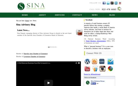 Screenshot of Press Page sinaadvisorygroup.com - News and blogs from your business consultants a top business advisory group in Bay Area CA - captured Oct. 2, 2014