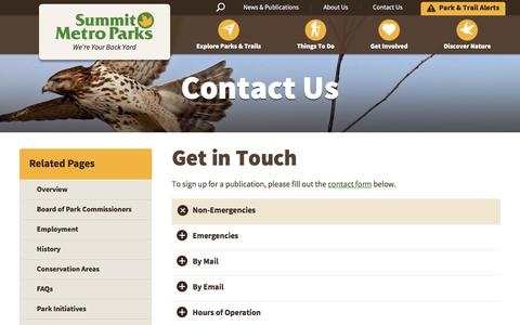 Screenshot of Contact Page Hours Page summitmetroparks.org - Contact  Your Local Park | Summit Metro Parks - captured Sept. 21, 2018