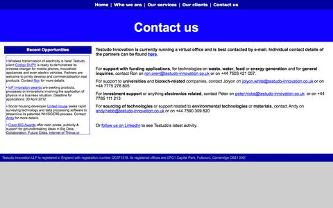 Screenshot of Contact Page testudo-innovation.co.uk - Contact us - captured Oct. 9, 2014