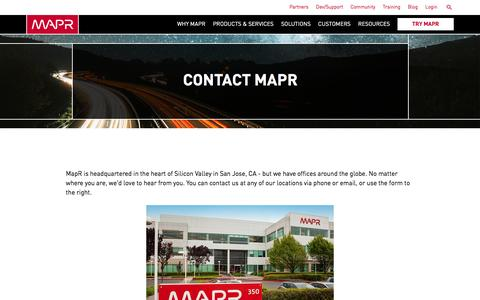 Screenshot of Contact Page mapr.com - Contact MapR | MapR - captured March 16, 2017