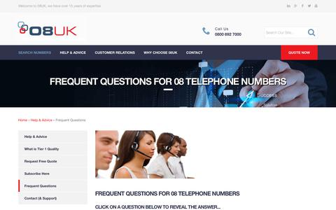 Screenshot of FAQ Page 08uk.co.uk - Frequent Questions for 08 Telephone Numbers : 08UK Communicating Interactive Solutions - captured Oct. 19, 2018