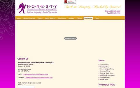 Screenshot of Contact Page honestygourmetcaterers.com - Honesty Gourmet Caterers - Contact Us - captured Nov. 12, 2016