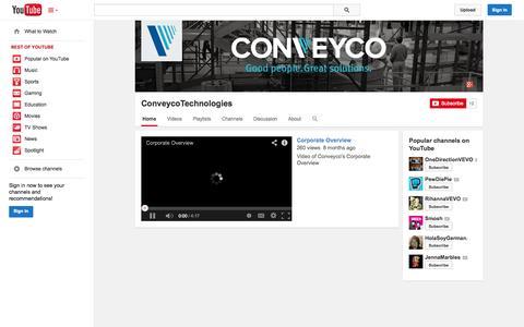 Screenshot of YouTube Page youtube.com - ConveycoTechnologies  - YouTube - captured Oct. 22, 2014