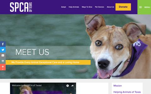 Screenshot of About Page spca.org - Landing Page - Meet Us - SPCA of Texas - captured Oct. 1, 2018