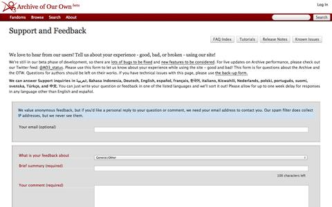 Screenshot of Support Page archiveofourown.org - New           Feedback         |         Archive of Our Own - captured Sept. 18, 2014