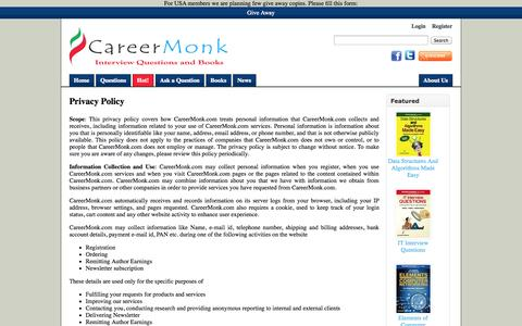 Screenshot of Privacy Page careermonk.com - Privacy Policy - CareerMonk Publications - Interview Questions | Books - captured Sept. 23, 2014