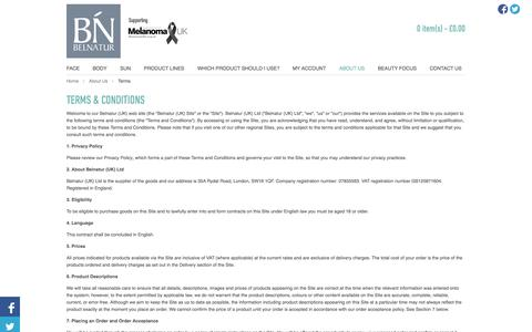 Screenshot of Terms Page belnatur.co.uk - Belnatur - Terms - captured Oct. 5, 2014
