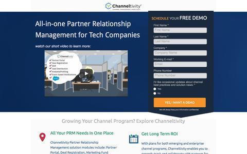 Screenshot of Landing Page channeltivity.com - Channeltivity Partner Relationship Management - captured Sept. 19, 2018