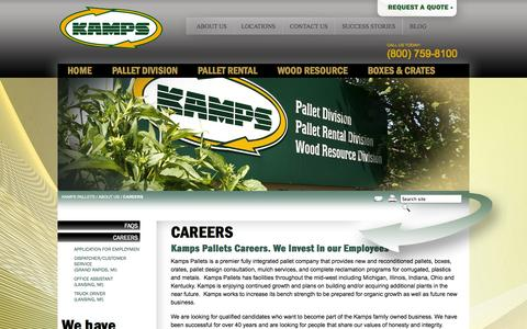 Screenshot of Jobs Page kampsinc.com - Apply Today at Kamps for Pallet Company Jobs & Careers. We're Hiring! - captured Oct. 6, 2014