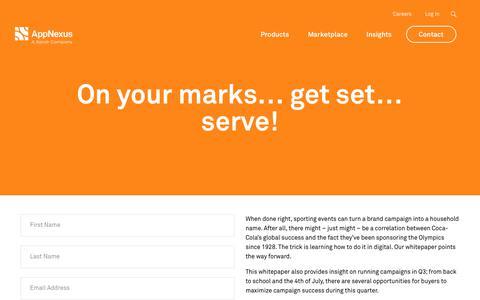 Screenshot of FAQ Page appnexus.com - On your marks… get set… serve! | AppNexus - captured Nov. 18, 2019
