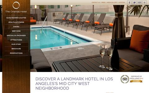 Screenshot of Home Page theorlando.com - Boutique Hotel in LA - Hotel West Hollywood | The Orlando Hotel LA - captured Sept. 19, 2014