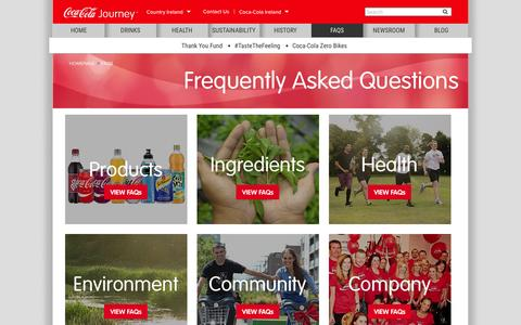Screenshot of FAQ Page coca-cola.ie - FAQ | Frequently Asked Questions | Coca-Cola IE - captured March 2, 2016