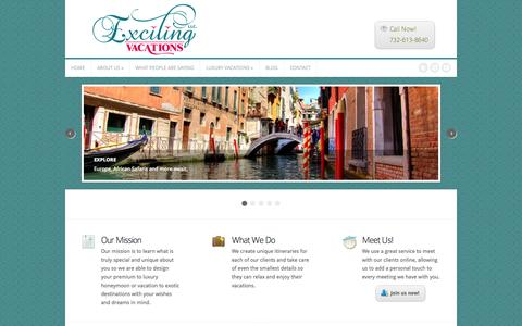 Screenshot of Home Page excitingvacations.net - Custom, Luxury Vacation Packages - Exciting Vacations LLC - captured Oct. 3, 2014
