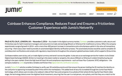 Screenshot of Press Page jumio.com - Coinbase Enhances Compliance, Reduces Fraud and Ensures a Frictionless Customer Experience with Jumio's Netverify - Jumio - captured Oct. 25, 2017