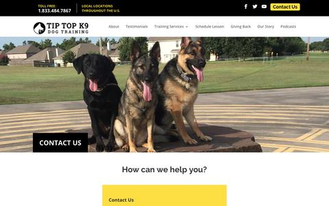 Screenshot of Contact Page tiptopk9.com - Contact Us | Tip Top K9 | Dog Training Tulsa - captured Sept. 21, 2018