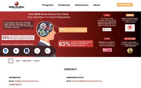 Screenshot of Contact Page global-business-school.org - Contact, Address GBSB Global Business School Barcelona - captured Sept. 28, 2018