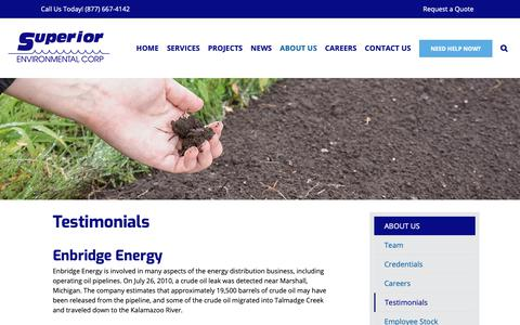 Screenshot of Testimonials Page superiorenvironmental.com - Testimonials - Superior Environmental Corporation - captured Oct. 18, 2018