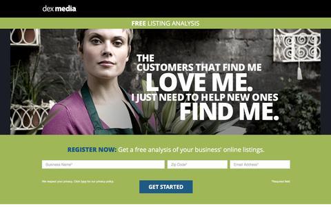 Screenshot of Landing Page dexmedia.com - Dex Media - captured Sept. 27, 2016