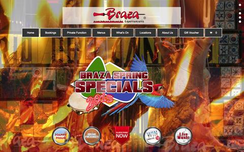 Screenshot of Home Page braza.com.au - Braza | Authentic Brazilian Barbecue Restaurant - captured Sept. 13, 2015