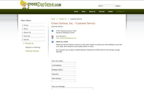 Screenshot of Support Page greendarlene.com - Green Darlene - Customer Service Contact - captured Oct. 3, 2014