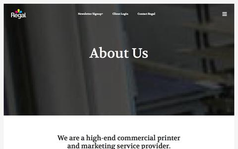 Screenshot of About Page regalprint.com - About Us - Regal Print | Printing and MarketingRegal Print | Printing and Marketing - captured Nov. 1, 2014